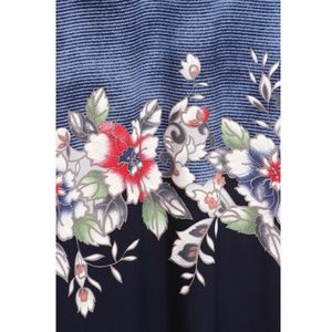 MOA USA Skirts - Navy Floral & Stripe Maxi Skirt